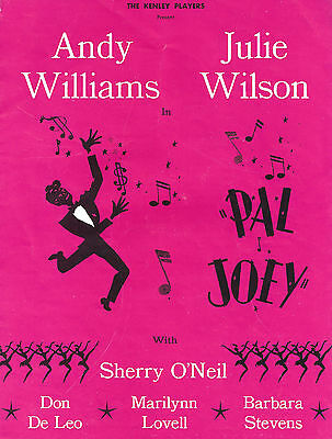 """Andy Williams (Signed) """"PAL JOEY"""" Julie Wilson / Rodgers & Hart 1961 Program"""