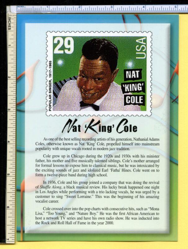 NAT KING COLE Postcard 2000 5x7 usps Jumbo Vocal Legend post card, ex cond