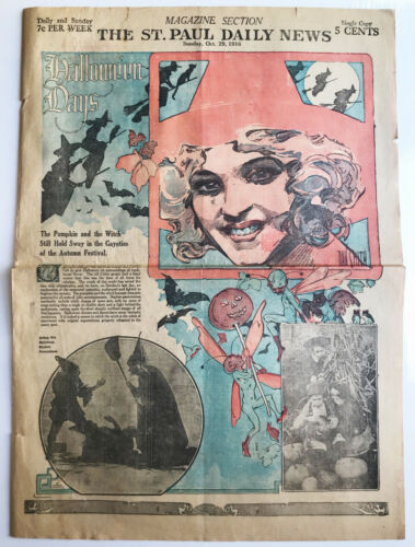 RARE Vintage 1916 HALLOWEEN DAYS Newspaper Page Witches/Pumpkins GREAT GRAPHICS!