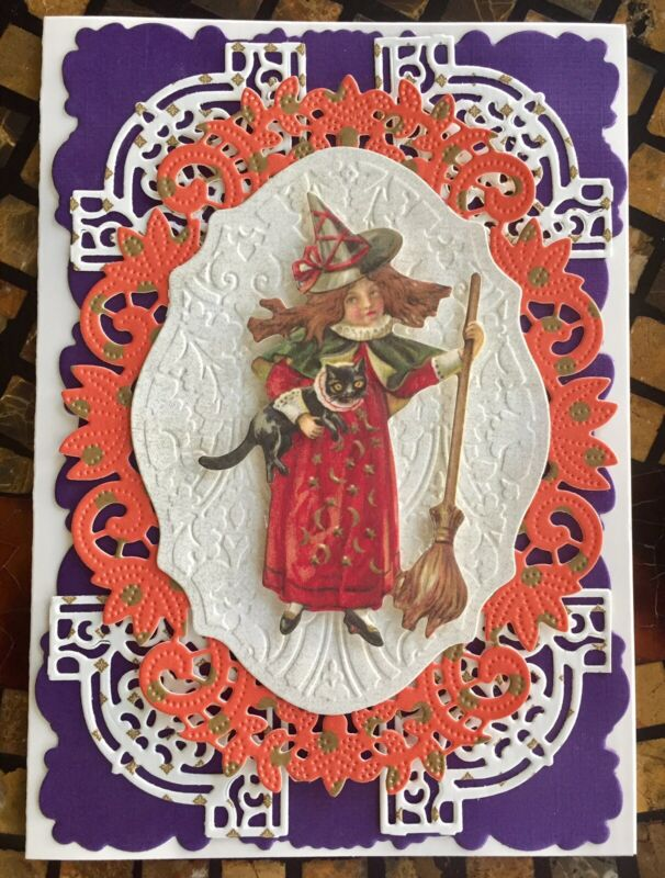 Handmade Greeting Card Anna Griffin Style 3D Embellishment Happy Halloween Card