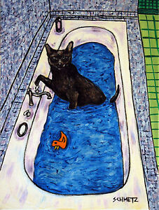 BOMBAY CAT signed art PRINT impressionism animals 8x10 bathroom bath