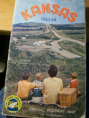 Nice Vintage 1963-64 KANSAS Official State Highway Map
