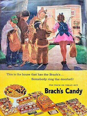 RARE 1959 BRACHS CANDY HALLOWEEN Trick or Treaters = Print AD