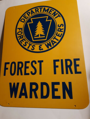 Forest Fire Warden Sign Vintage Department of Forest & Waters Forest Warden Sign