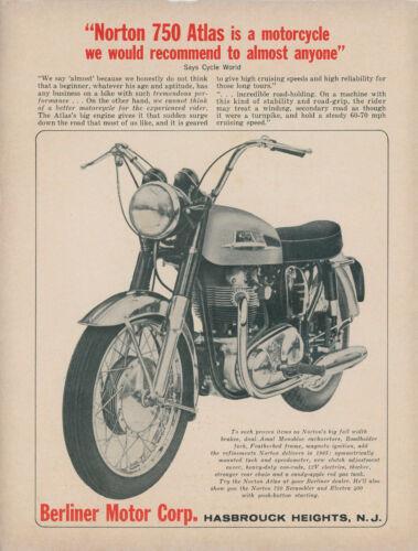 1965 Norton 750 Atlas Vintage Motorcycle Ad Berliner Motor Corp Hasbrouck Height