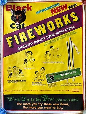 Vintage Black Cat Fireworks Advertising Poster Super Bright Sparklers