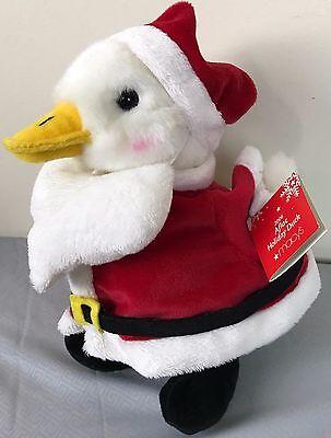 Talking Aflac 2006 Santa Claus Advertising Duck Large 10  Stuffed Plush W Tag
