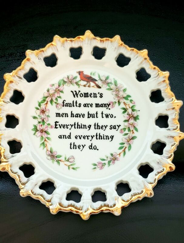 """Vintage """"RARE"""" Norcrest Japan Reticulated Decorative Plate 7"""" Adult Humor Funny"""