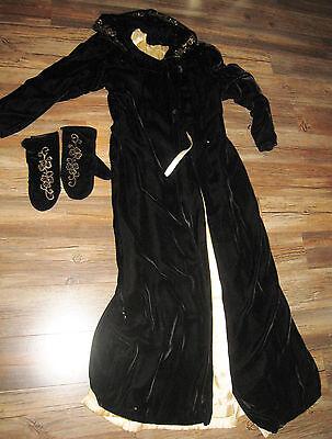 Vtg Black Velvet Hooded Opera Coat Cape 1930s 40s Sequin Trim Matching Mittens