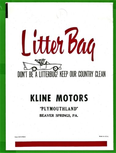 VTG 1950s Plymouth Auto Litter Bag Kline Motors Beaver Springs PA Mint NOS