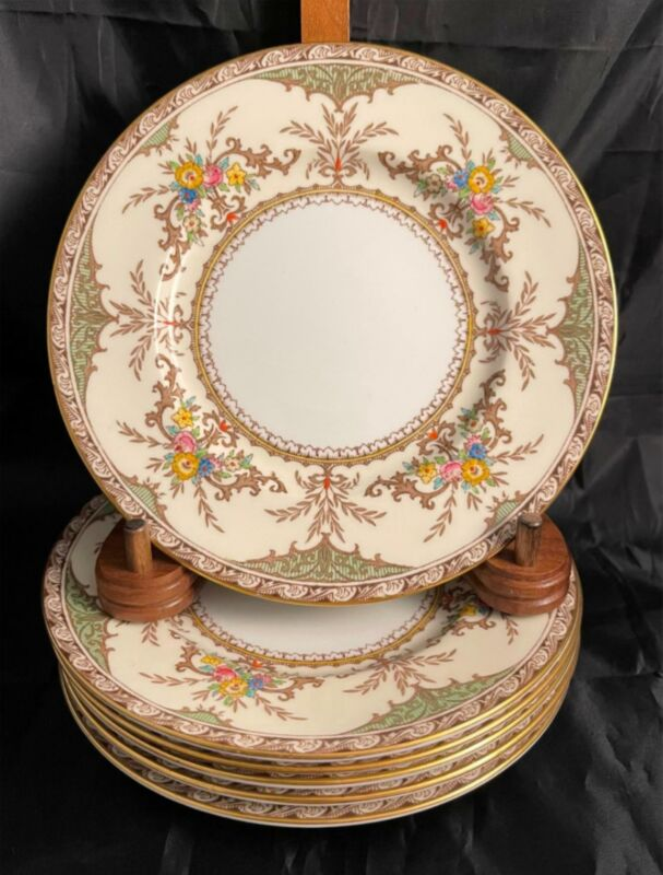 Vintage Set of 6 Minton CHATHAM GREEN IVORY Bread & Butter Plates Free Shipping