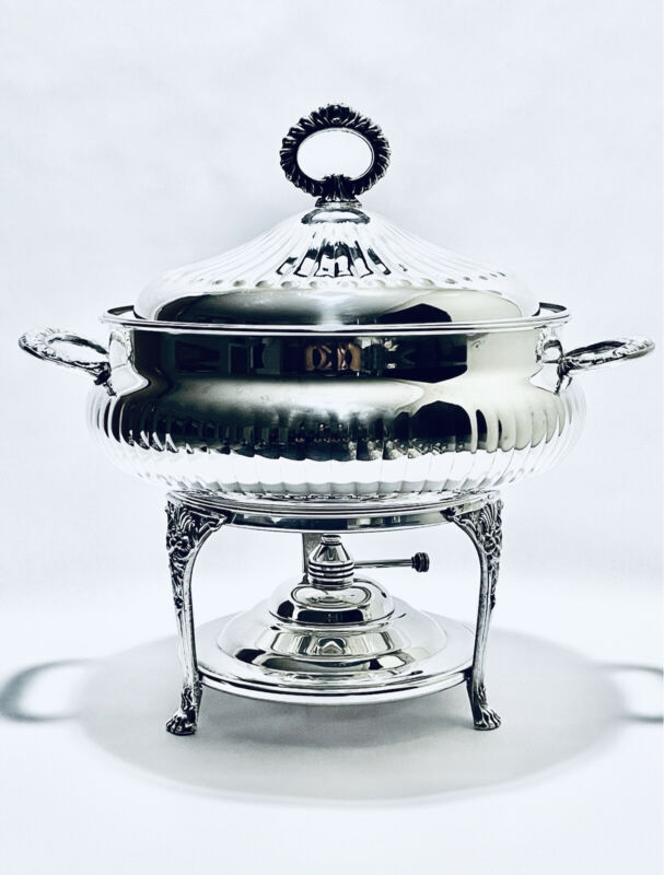 Stunning Antique Georgian Lehman Brothers/LB Silver Plate With Stand & Burner
