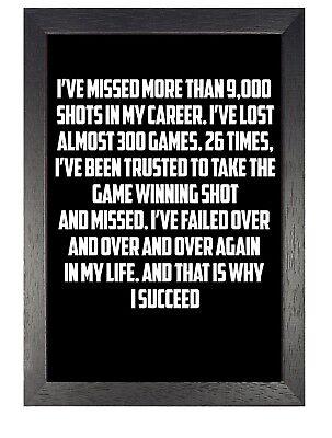 Michael Jordan 3 Motivation Inspiration Black White Quote Poster Gaming Photo ()