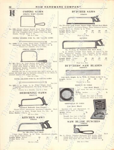 1920s Antique Hardware Ad Saws:Flooring Compass Keyhole Coping Pruning Kitchen