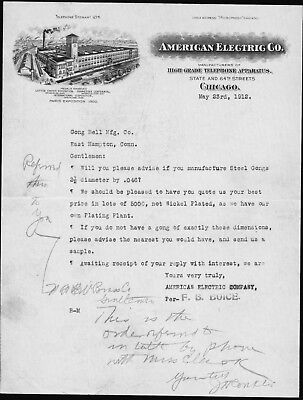 1912 Chicago - American Electric Co - Telephone Apparatus - Letter Head History