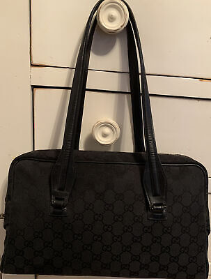 Gucci gg monogram Vintage Black Canvas Leather Shoulder Bag