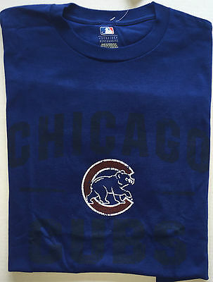 NWT Men's Chicago Cubs Graphic Logo Short Sleeve Cotton Blue T Shirt Large New