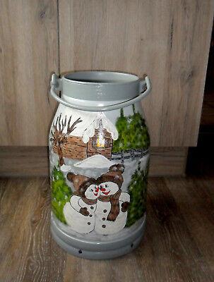 20l Schnee (Milchkanne,20-L.-Bodenvase-handbemalt-2 Motive-Sonnenblumen-Mohn-Schneemann)