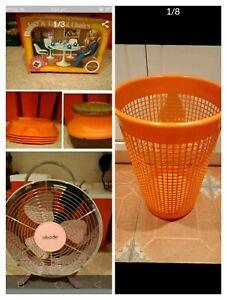 FREE Retro Orange container, box, plates, Fan- decoration, hamper
