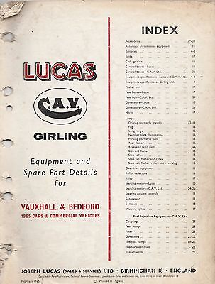 LUCAS PARTS CATALOGUE ON CD FOR 1965 VAUXHALL CARS &  BEDFORD TRUCKS