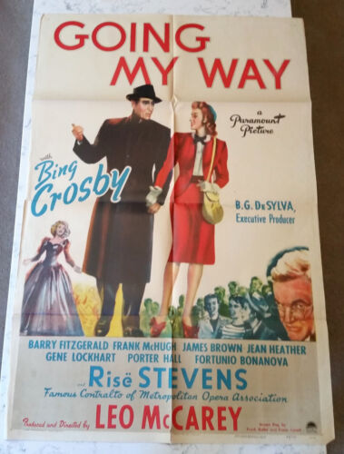 VINTAGE ORIGINAL MOVIE POSTER GOING MY WAY BING CROSBY ONE SINGLE SHEET 1944