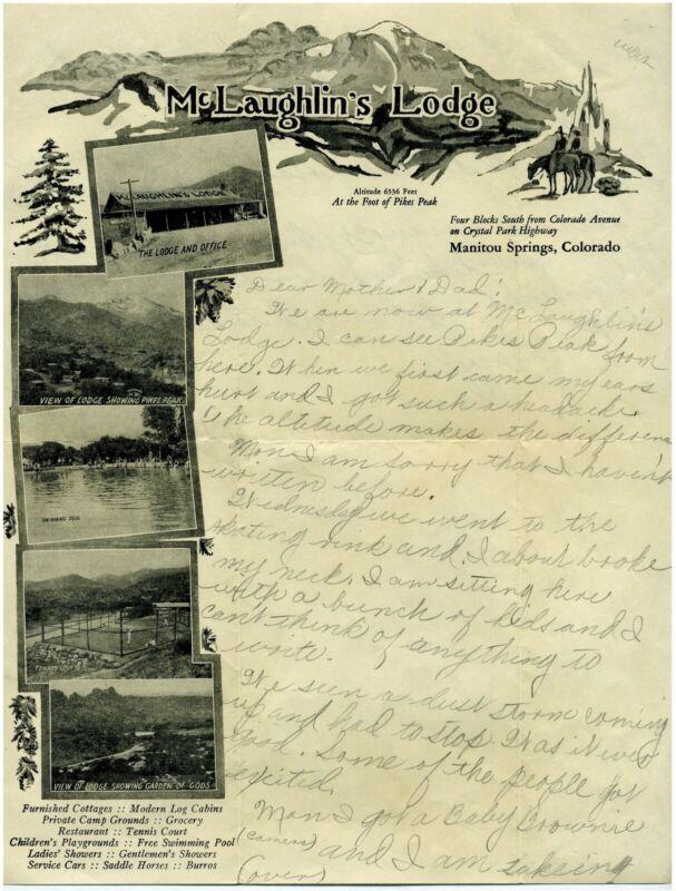 LETTERHEAD – McLAUGHLINS'S LODGE MANITOU SPRING COLORADO - ILLUSTRATED