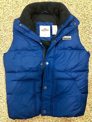 $ 79 NWT Hollister by Abercrombie Fleece-lined Puffer Vest Blue Mens Small SM