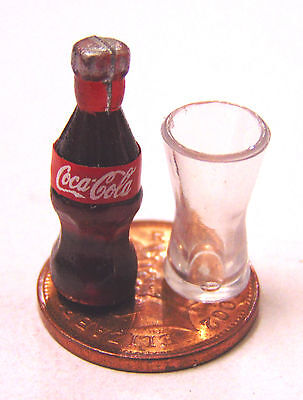 1:12 Small Coke Bottle & Plastic Glass Tumdee Dolls House Pub Bar Cafe Drink L13