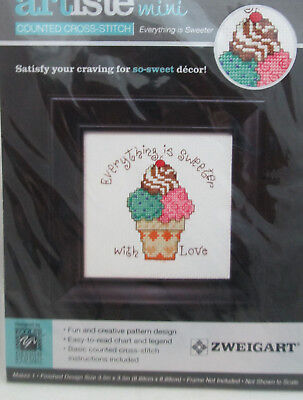 "Zweigart Mini Counted Cross Stitch Kit 3.5"" by 3.5"" So-Sweet Ice Cream"