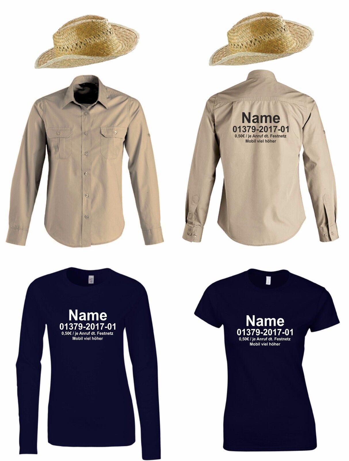 Damen T-Shirt + Hut oder Hemd mit Ihrem Namen Kostüm für Dschungelcamp Fans