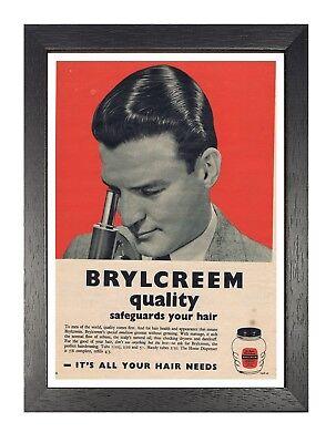 Brylcreem Mikroskop Friseur Vintage Retro Poster Hairdresser Alt Werbung Bild