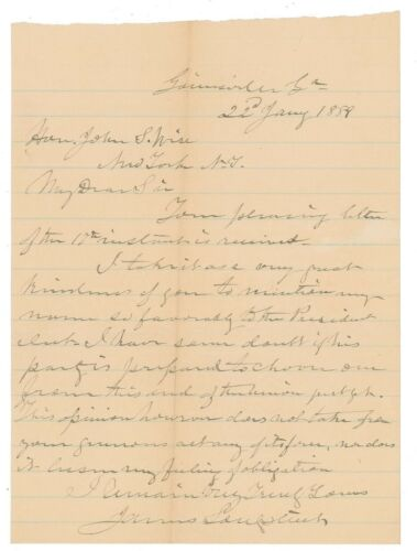 James Longstreet Letter Signed - Doubts Former Confederate Will Be Us President