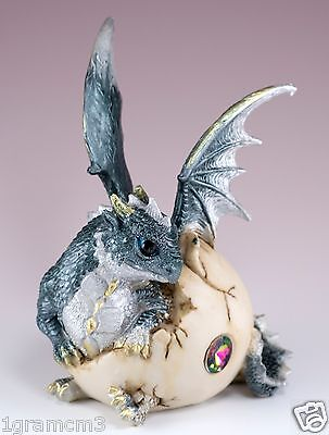 """Gray Baby Dragon Hatching From Egg Figurine Hatchling 5.75"""" Detailed Resin NIB"""