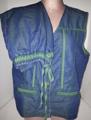 SAINT GERMAIN Paris Womens 2 Piece Pants Set Vest Blue Jean Green Large Medium