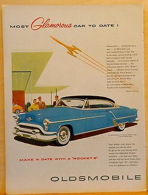 Vintage 1950's ad for Oldsmobile - blue Ninety-Eight Holiday Coupe', Glamorous