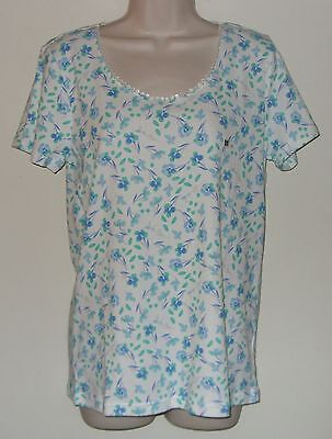 """Basic Editions Floral Short Sleeve Pull Over Top M/M Bust 36"""" Length 26"""""""