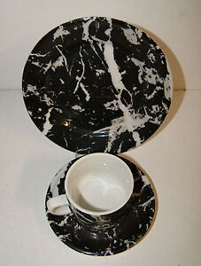 Porcelaine Apilco France keramik Porzellan marmoriert Kaffee Gedeck Vintage