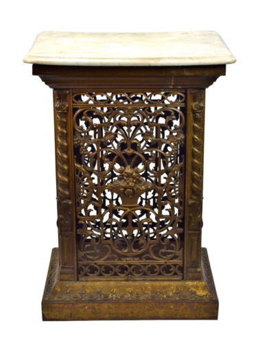 Antique Victorian Cast Iron Marble Top Vent Cover Standing Grate Floral Pattern