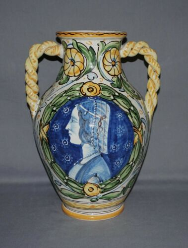 "Faience Majolica Art Pottery Portrait & Floral 12"" Vase, Italy"