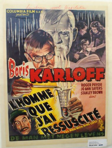 THE MAN WITH NINE LIVES - BORIS KARLOFF - ORIGINAL BELGIAN MOVIE POSTER
