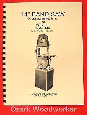 Powermatic 140 14 Band Saw Model Operatingpart Manual 0516