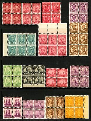 #632-#729 1927-1933 Assorted Mint Blocks of 4-6 Most Mint Never Hinged