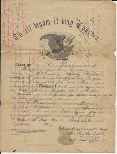 Discharge for  C Van Der Broek 15th Missouri Inf, Signed by BBG E B Alexander