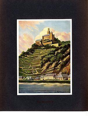 Der Maler Fr. Kuhlmeyer München Die Marksburg am Rhein um 1910