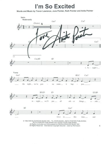 Anita Pointer Signed Autograph Im So Excited Lyric Sheet The Pointer Sisters COA