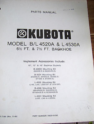Kubota Parts Manual Model Bl 4520a L4530a 6 7 Backhoe Nov. 1984 Lot247