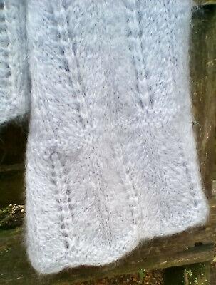 Pull bleu clair en mohair tricoté à la main taille s