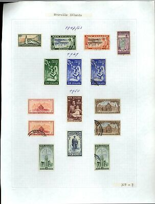 New Zealand 1947-1963 Album Page Of Stamps #V21273