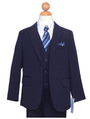 BOYS RECITAL,GRADUATION, PINSTRIPE SUIT, NAVY BLUE/WHITE Size: 2T to 16