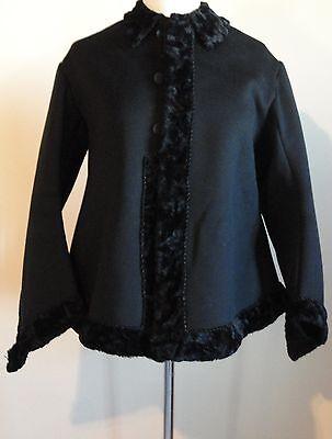 True Vintage Victorian Black Wool Fur Trimmed Coat - excellent condition